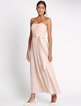 Detachable Straps Pleated Maxi Dress, BLUSH PINK, catlanding