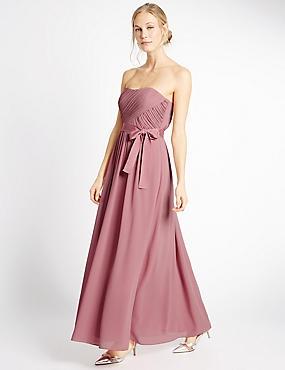 Detachable Straps Pleated Maxi Dress, ANTIQUE ROSE, catlanding