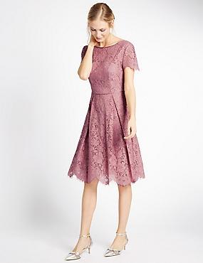 Cotton Blend Lace Swing Dress, ANTIQUE ROSE, catlanding