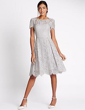 Cotton Blend Lace Swing Dress, SILVER GREY, catlanding