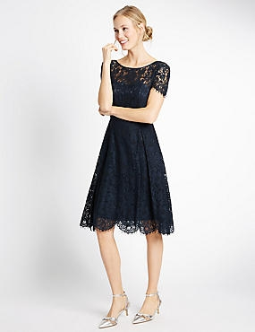 Cotton Blend Lace Swing Dress, NAVY, catlanding