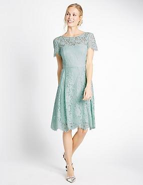 Cotton Blend Lace Swing Dress, DUCK EGG, catlanding