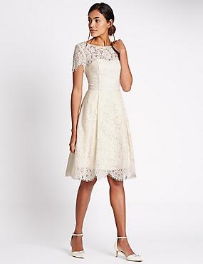 Cotton Blend Lace Swing Dress, IVORY, catlanding
