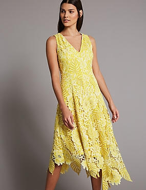 Floral Lace Asymmetric Midi Dress, LEMON, catlanding