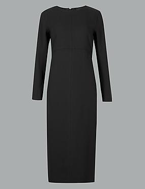 Stitch Detail Long Sleeve Midi Dress, BLACK, catlanding