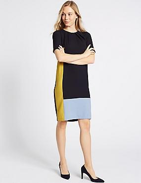 Colour Block Half Sleeve Tunic Dress, NAVY MIX, catlanding