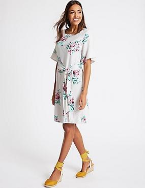 Linen Blend Floral Print Tunic Dress , IVORY MIX, catlanding