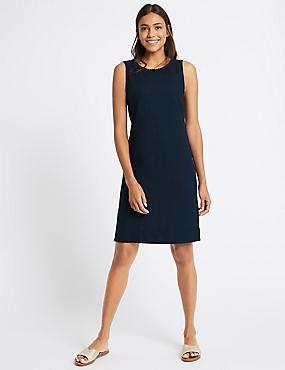 Linen Blend Tunic Dress, NAVY, catlanding