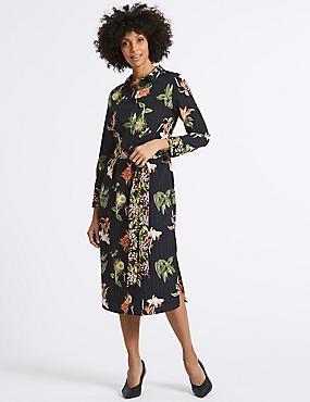 Floral Print Long Sleeve Shirt Midi Dress, BLACK MIX, catlanding