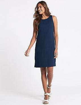 Linen Blend Pocket Detail Tunic Dress, NAVY, catlanding