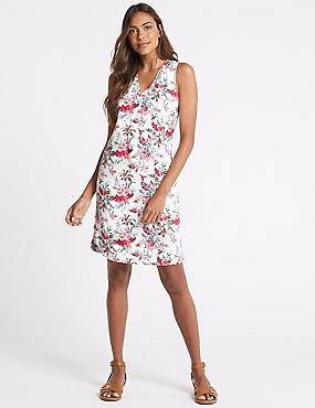 Linen Blend Printed Curved Hem Shift Dress, IVORY MIX, catlanding