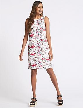 Linen Blend Print Pocket Detail Tunic Dress, IVORY MIX, catlanding