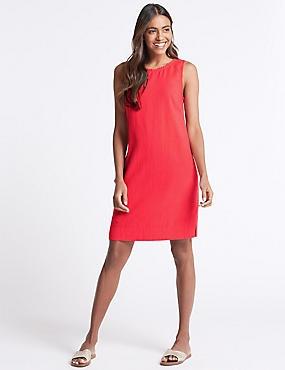 Linen Blend Sleeveless Tunic Dress, FLAME, catlanding
