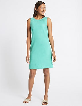 Linen Blend Tunic Dress, AQUA, catlanding