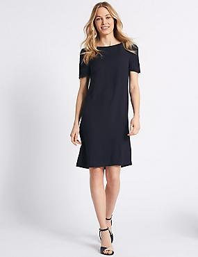 Ruched Sleeve Tunic Dress , NAVY, catlanding
