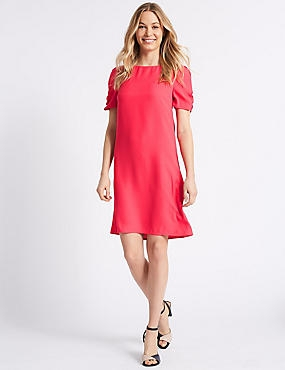 Ruched Sleeve Tunic Dress , PINK, catlanding