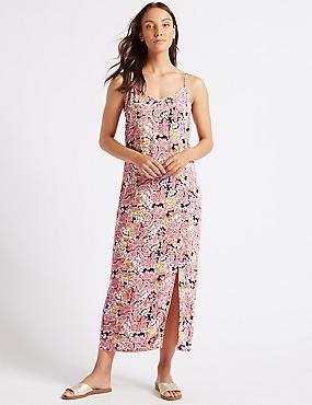 Floral Print Fuller Bust Slip Maxi Dress , RED MIX, catlanding