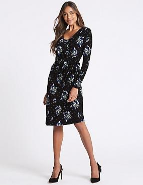 Floral Print Asymmetric Wrap Midi Dress, BLACK MIX, catlanding