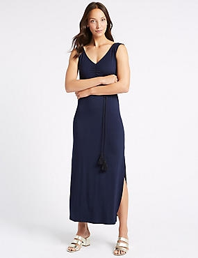 Ruched Sleeveless Maxi Dress with Belt, NAVY, catlanding