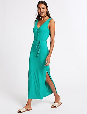 Ruched Sleeveless Maxi Dress with Belt, GREEN, catlanding