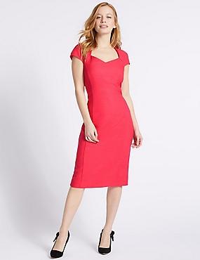 PETITE Short Sleeve Bodycon Midi Dress , PINK, catlanding