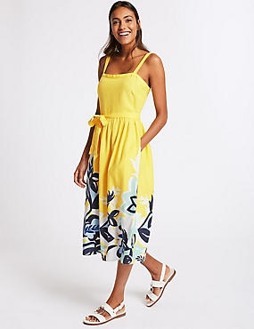 Linen Rich Floral Print Prom Midi Dress, YELLOW MIX, catlanding