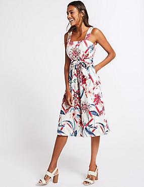 Cotton Rich Floral Print Skater Midi Dress , IVORY MIX, catlanding