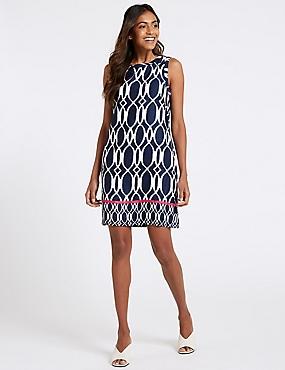 Linen Rich Printed Tunic Dress, NAVY MIX, catlanding