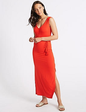 Ruched Front Slip Maxi Dress , RED, catlanding