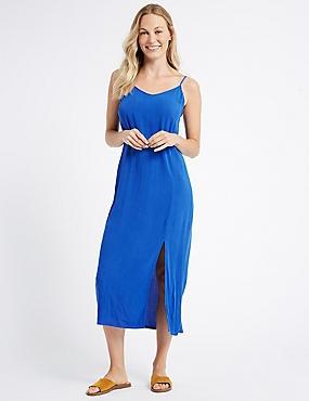 Slip Midi Dress, BLUE, catlanding