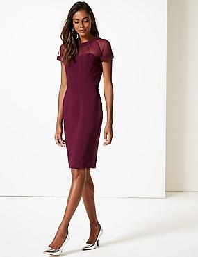 Mesh Short Sleeve Bodycon Midi Dress, PLUM, catlanding