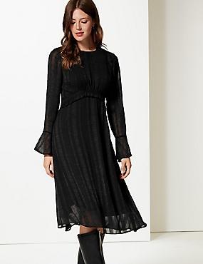 Textured Long Sleeve Shift Midi Dress  , BLACK, catlanding
