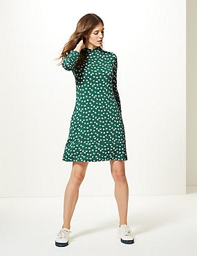 Floral Print Long Sleeve Swing Dress , GREEN MIX, catlanding
