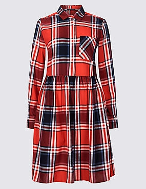 PETITE Pure Cotton Checked Drop Waist Dress, RED MIX, catlanding