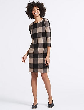 Checked 3/4 Sleeve Tunic Dress, PINK MIX, catlanding