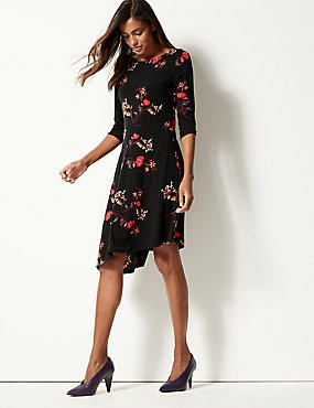 Floral Print Round Neck Skater Midi Dress , BLACK MIX, catlanding