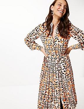 Animal Print Long Sleeve Shirt Midi Dress, ORANGE MIX, catlanding