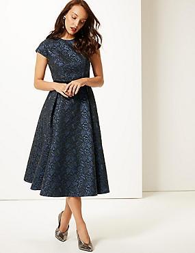 Floral Print Cap Sleeve Skater Midi Dress , NAVY MIX, catlanding