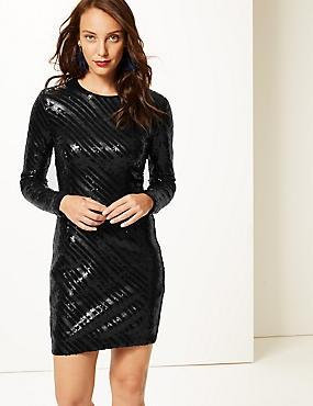 Sparkly Long Sleeve Bodycon Dress, BLACK, catlanding