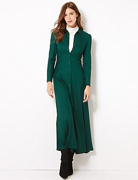 Long Sleeve Shirt Maxi Dress  , KHAKI, catlanding