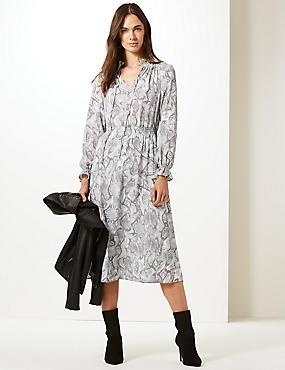 Animal Print Long Sleeve Shift Midi Dress, GREY MIX, catlanding