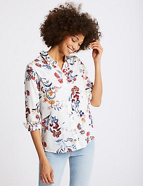 Pure Modal Floral Print Long Sleeve Shirt, IVORY MIX, catlanding