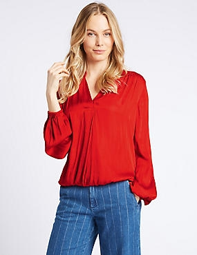 Satin Notch Neck Long Sleeve Blouse, POPPY, catlanding