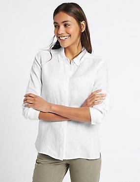 Pure Linen Long Sleeve Shirt, WHITE, catlanding