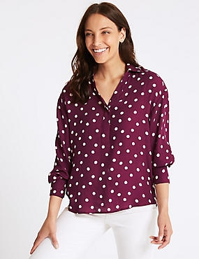 Spotted Collared Neck Long Sleeve Blouse , BURGUNDY MIX, catlanding