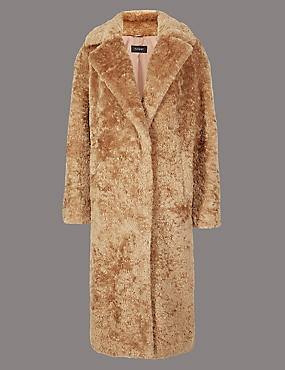 Single Breasted Longline Faux Fur Coat , GOLDEN TAN, catlanding