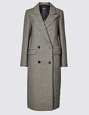 Checked Longline Coat , BROWN MIX, catlanding