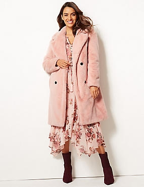 Double Breasted Faux Fur Coat , BLUSH PINK, catlanding