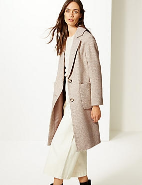 Wool Blend Herringbone Coat , NEUTRAL, catlanding