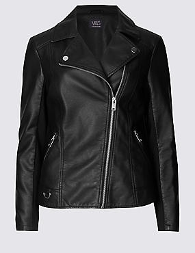 Crossed Zipped Biker Jacket, BLACK, catlanding